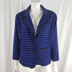 Sandro Jacket 3/4 Sleeve Stripe Blue Black